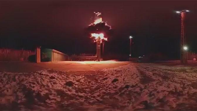 Пуск баллистической ракеты «Тополь» с космодрома Плесецк: видео 360°