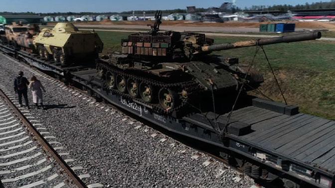 Поезд «Сирийский перелом» с трофейным оружием террористов вернулся в парк «Патриот»