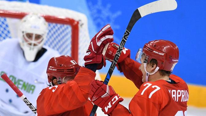 Русские хоккеисты выигрывают после 2-го периода ОИ-2018 вматче самериканцами