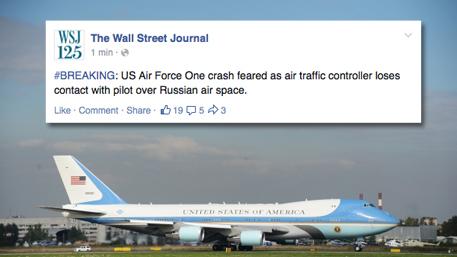 Самолет Обамы пропал над Россией – хакеры со страницы WSJ в Facebook