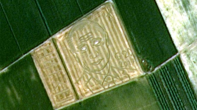 Российский спутник сфотографировал портрет Путина на поле в Италии
