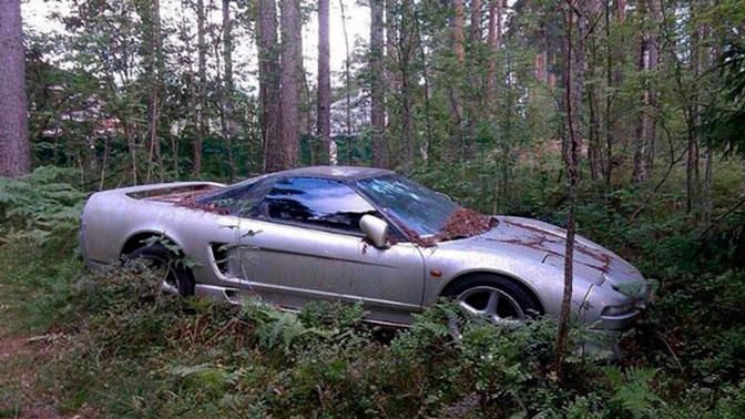 В лесу под Петербургом нашли редкий спорткар, поросший мхом