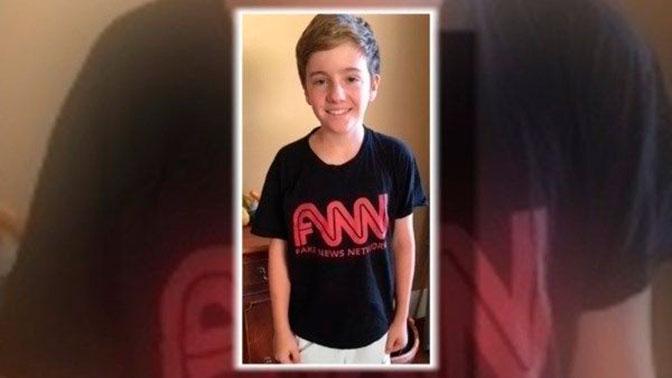 Ребенка выгнали из здания CNN за футболку с надписью Fake news