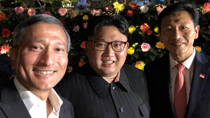 Сингапурские чиновники сделали селфи с Ким Чен Ыном