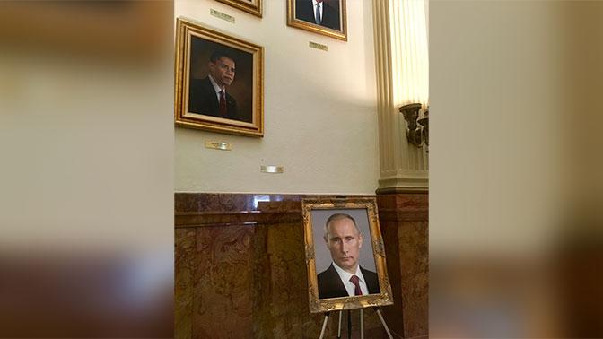 В Капитолии неизвестные поместили портрет Путина вместо Трампа