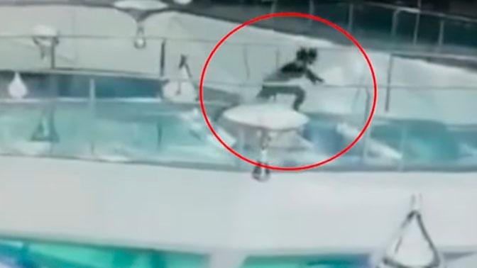 Женщина упала в бассейн с голодными акулами в Китае: видео