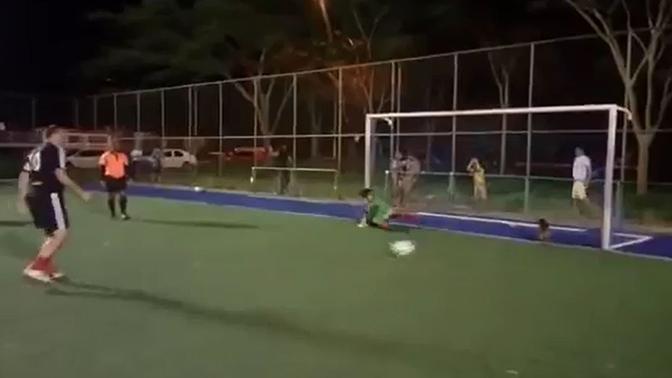 Собака-вратарь отбила собой мяч и спасла футболистов от позора: видео