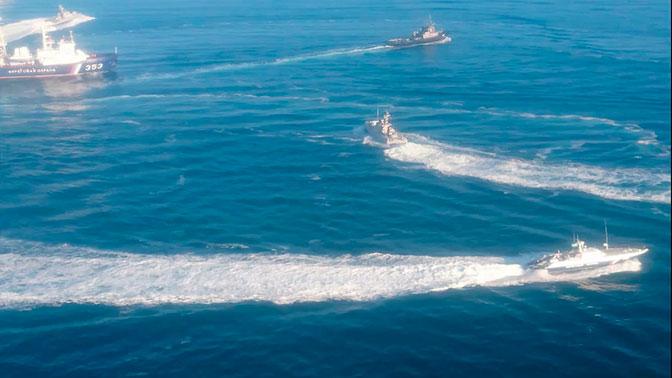 Изоккупированного Крыма всторону Азовского моря движется русский ракетный фрегат,