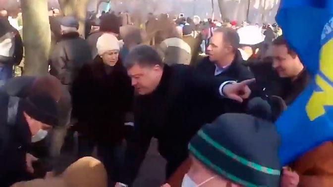 Появилось видео, разоблачающее «героическое поведение» Порошенко на Майдане
