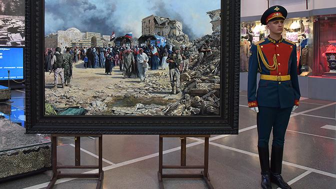 Испанский художник подарил Минобороны РФ картину о российских военных в Сирии