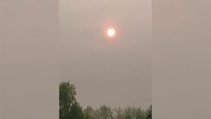 Неестественно красное солнце взошло над Новосибирском
