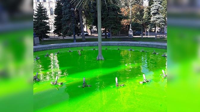На майдане в Киеве позеленели фонтаны