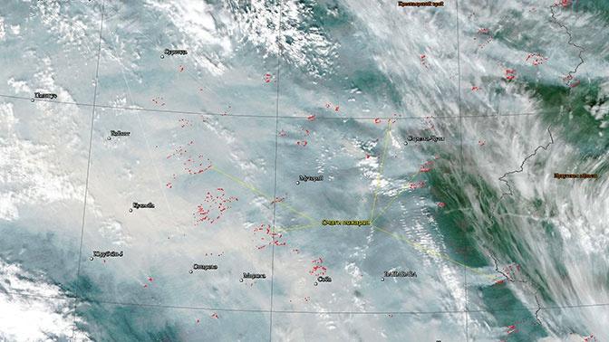 Смог от лесных пожаров в Сибири виден из космоса
