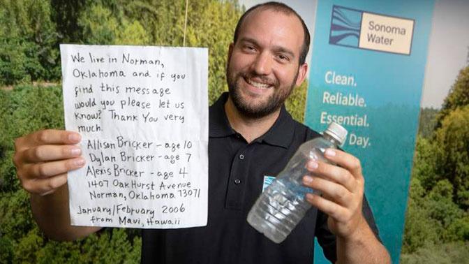 Брошенное в океан письмо в бутылке нашли через 13 лет