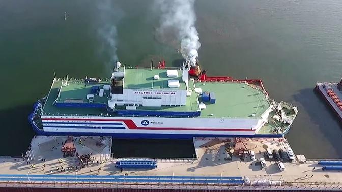 С высоты птичьего полета: новые кадры швартовки плавучей АЭС «Академик Ломоносов» в порту Певека