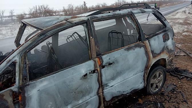 Два микроавтобуса загорелись после ДТП под Оренбургом