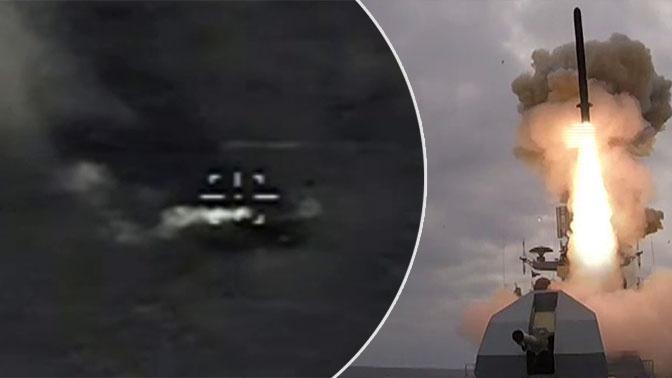 Более 250 км за секунды: опубликовано видео поражения цели «Калибром» на берегу Черного моря