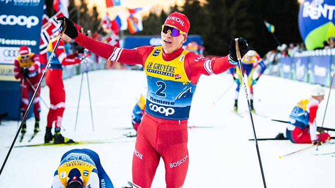 Лыжник Большунов победил в гонке преследования на этапе КМ в Чехии