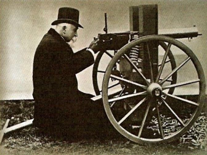 Хайрем Максим со своим пулемётом. 1884 год
