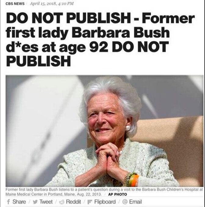 CBS поошибке обнародовал  некролог экс-первой леди США Барбаре Буш